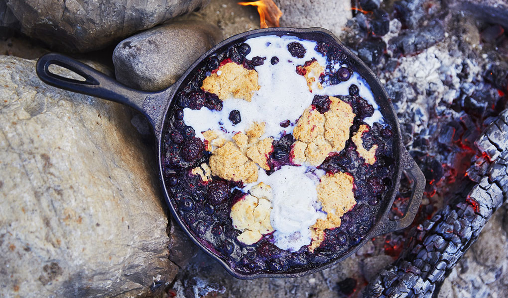 Lodge skillet with berry crisp