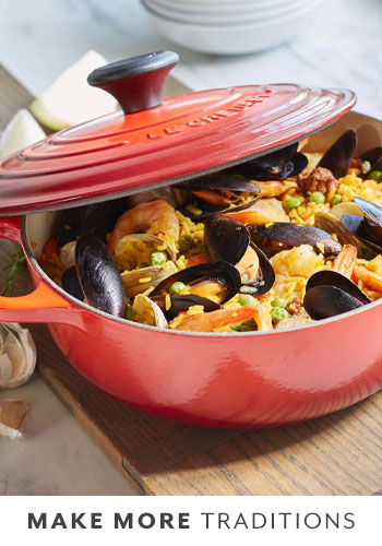 Le Creuset sauteuse with summer mussels and shrimp