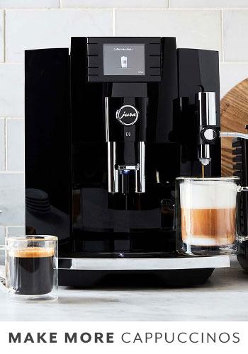 Jura E8 automatic coffee and espresso machine in Piano Black color