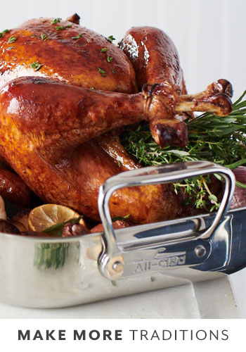 All Clad stainless steel roasting pan with roasted turkey