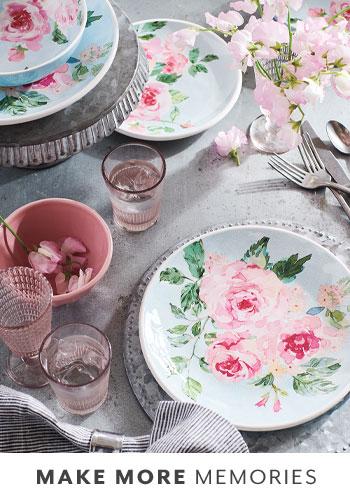 rose floral dinnerware