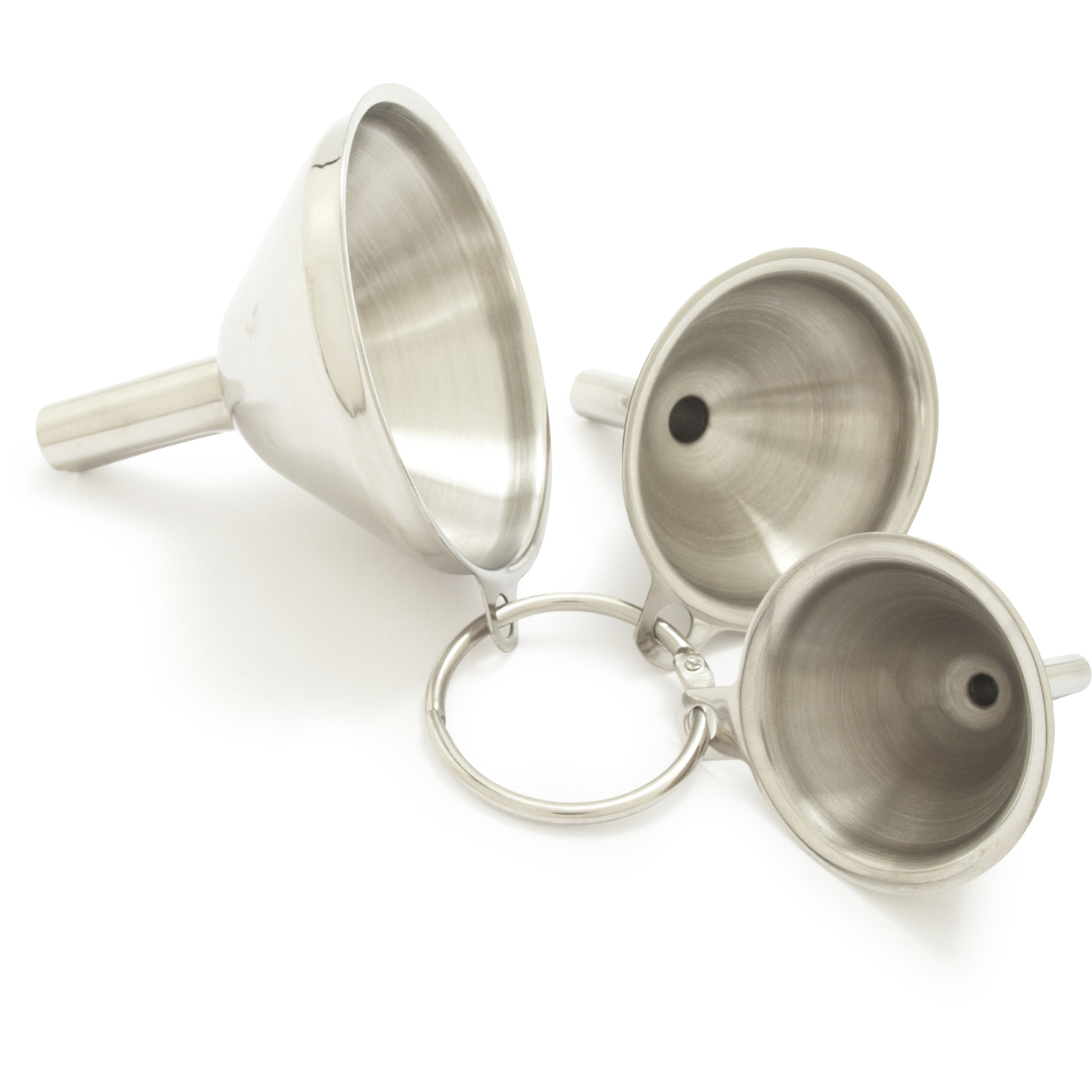 3 In 1 Portable Stainless Steel Metal Funnel Set Kitchen Home Accessories V1Z3