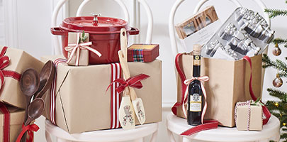 holiday packages wrapped in brown paper