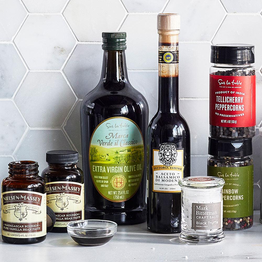Olive oil, vinegar, spices, vanilla extract