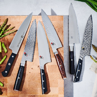 Chef's knives from Global, Shun and Wusthof