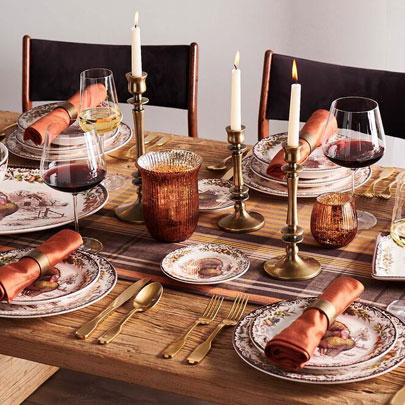 Thanksgiving table set with turkey dinnerware