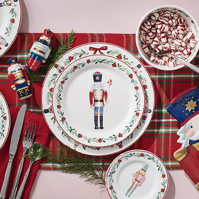 Holiday nutcracker plates and napkins
