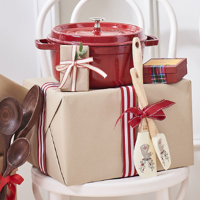 holiday gifts wrapped in brown paper