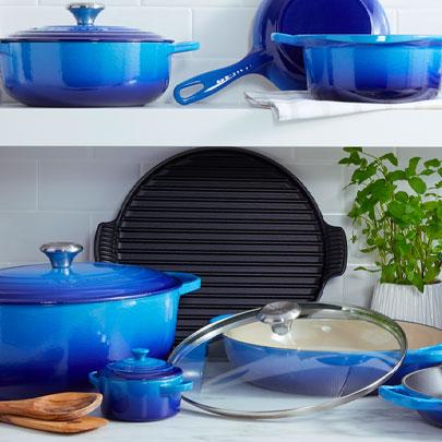 Le Creuset Azure blue cookware