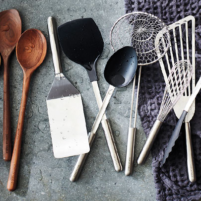 Sur La Table kitchen tools in wood, stainless steel and silicone