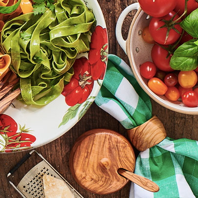 tomato dinnerware and serving bowl