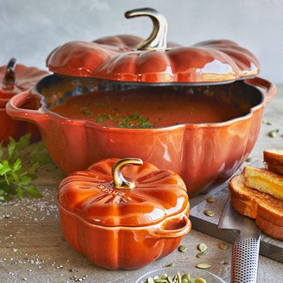 soup in Staub pumpkin cocotte