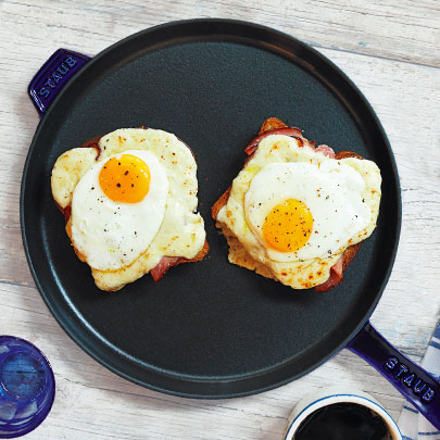 Staub cast iron skillet with fried eggs