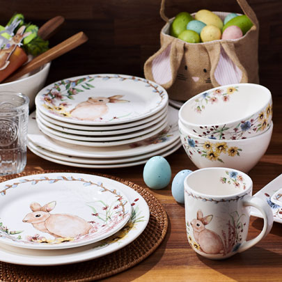 Easter dinnerware with bunnies and wildflower plates