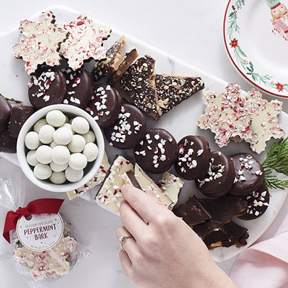 Sur La Table peppermint bark, almond bark and cookies