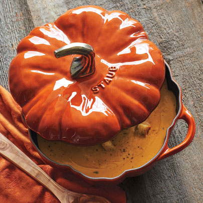 Staub pumpkin cocotte in burnt orange color