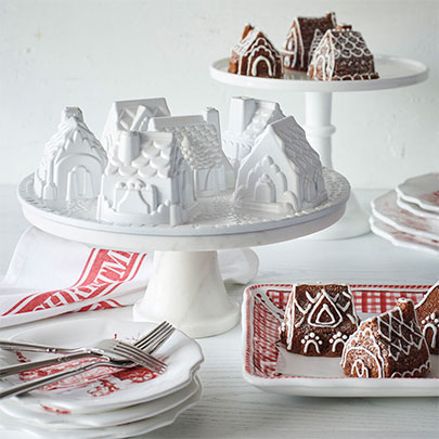 Holiday Baking with Nordic Ware gingerbread house pan