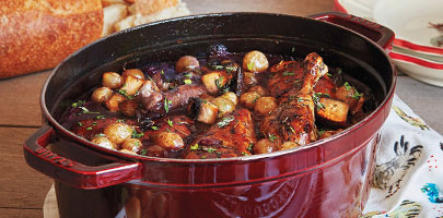 Staub oval cocotte with hearty stew