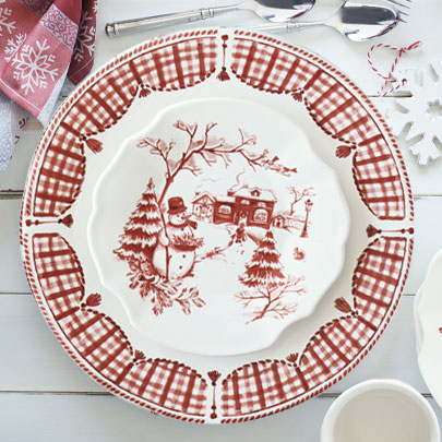 Holiday snowy lane red and white dinnerware