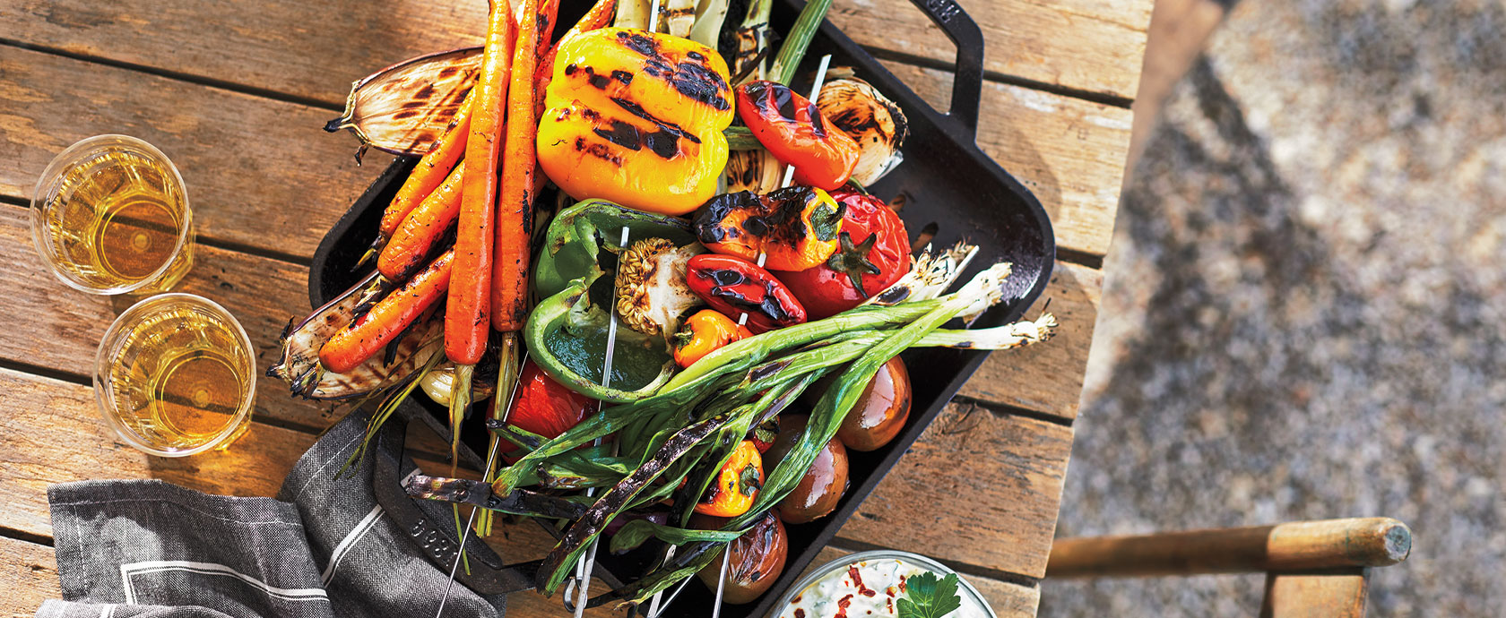 Fresh grilled veggies in cast iron grill pan