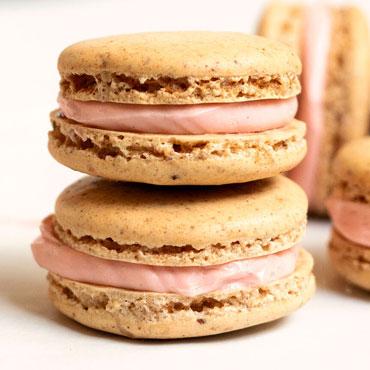 Elegant Fall Macarons, Amarena Buttercream with Amarena Cherry Center