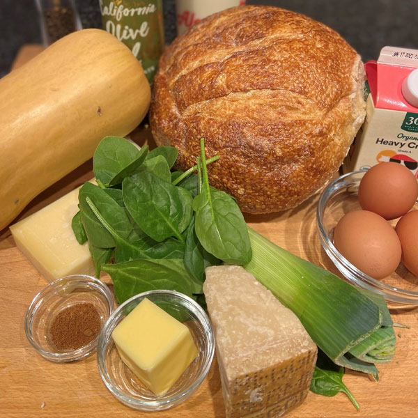 ingredients for Winter Squash Bread Pudding with Spinach and Gruyere