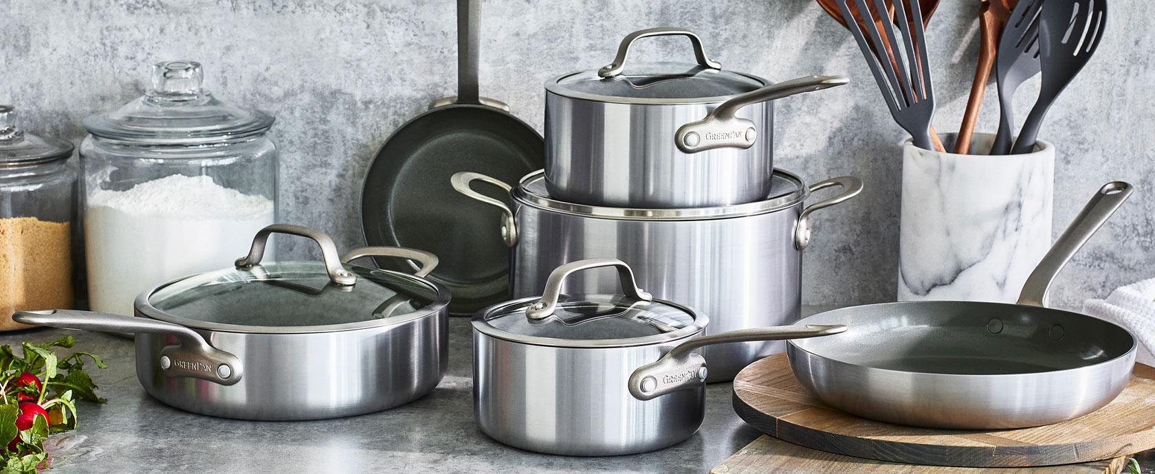 GreenPan nonstick cookware set with lids