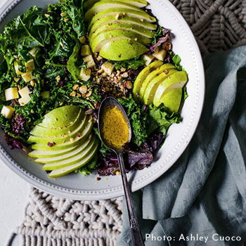 PEAR, GOUDA, AND KALE SALAD WITH WALNUTS AND SHERRY VINAIGRETTE