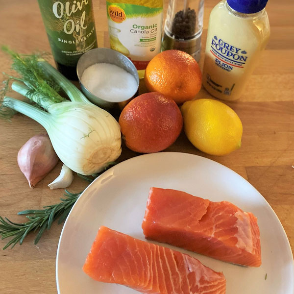 ingredients for Mustard-Crusted Salmon with Fennel and Blood Orange Salad