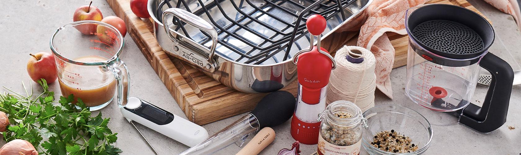 Thanksgiving roasting pan and tools