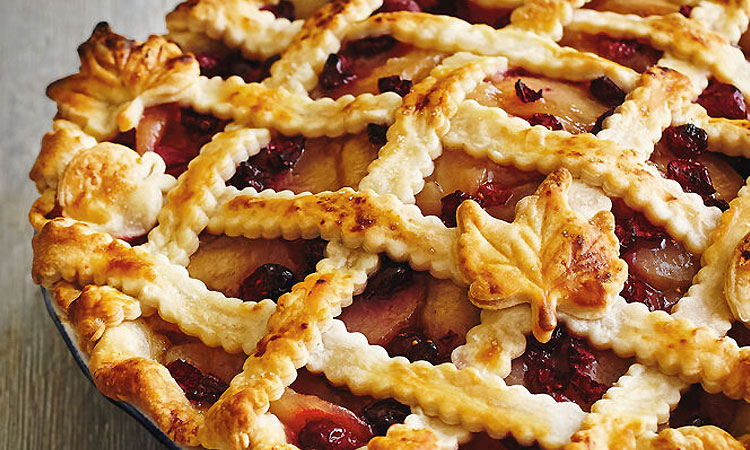 apple and cranberry pie with lattice top crust