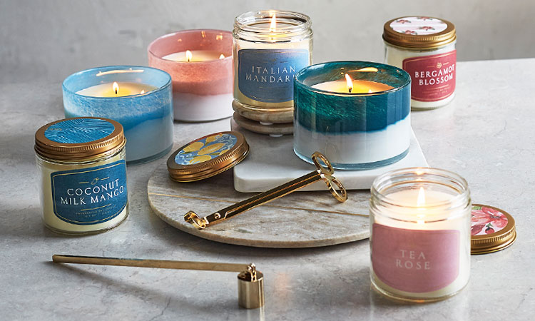 Sur La Table candles and marble candle holders.
