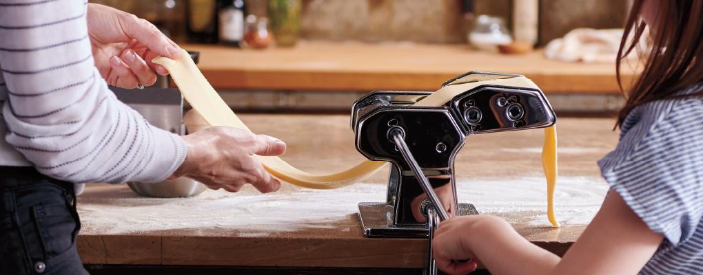people making homemade pasta