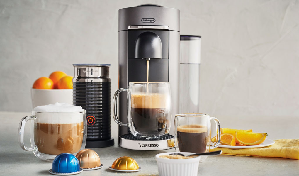 Nespresso coffee maker and milk frother