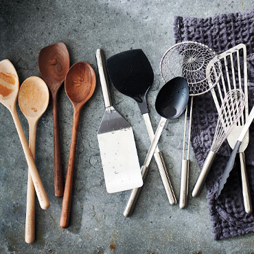 KITCHEN TOOLS, Sur La Table wooden spoons, stainless steel spatulas and whisks