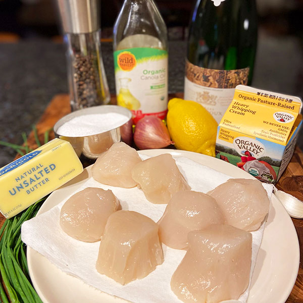 ingredients for Pan-Seared Scallops with Prosecco Butter Sauce