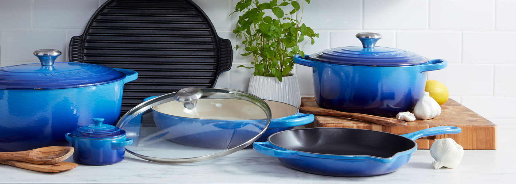 Le Creuset New & Exclusive cookware in Azure blue color