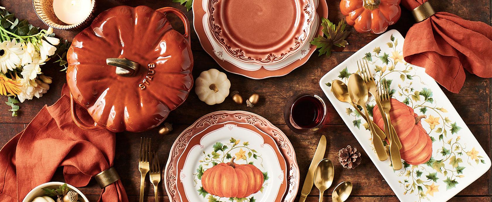 Staub pumpkin cocotte and pumpkin plates