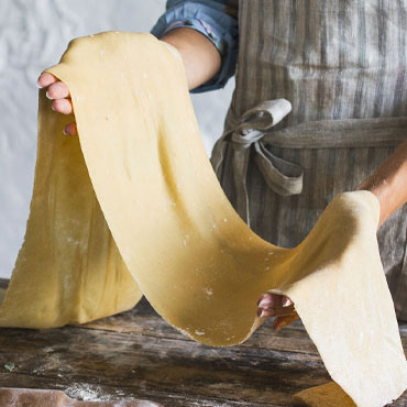 chef making pasta sheets, Hand-Shaped Pasta Workshop online cooking class