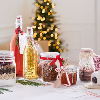 jars and bottles of homemade gifts