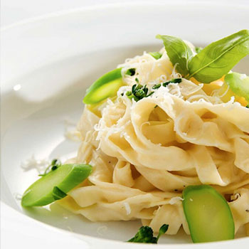 PAPPARDELLE WITH LEMON, ASPARAGUS AND PARMESAN WITH SOFT EGGS