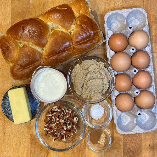 ingredients for Brioche French Toast Casserole with Pecans recipe