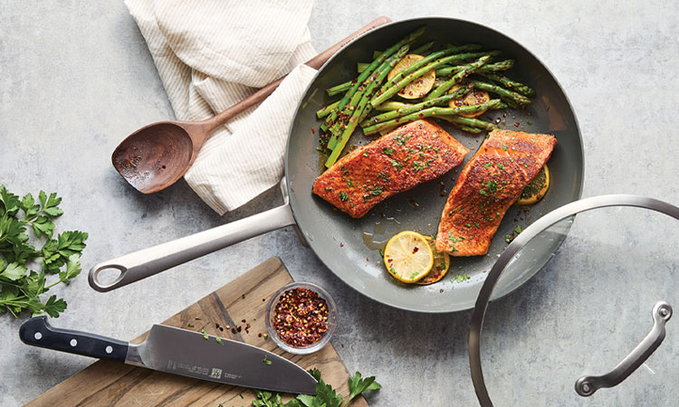 GreenPan nonstick skillet and lid with salmon and asparagus