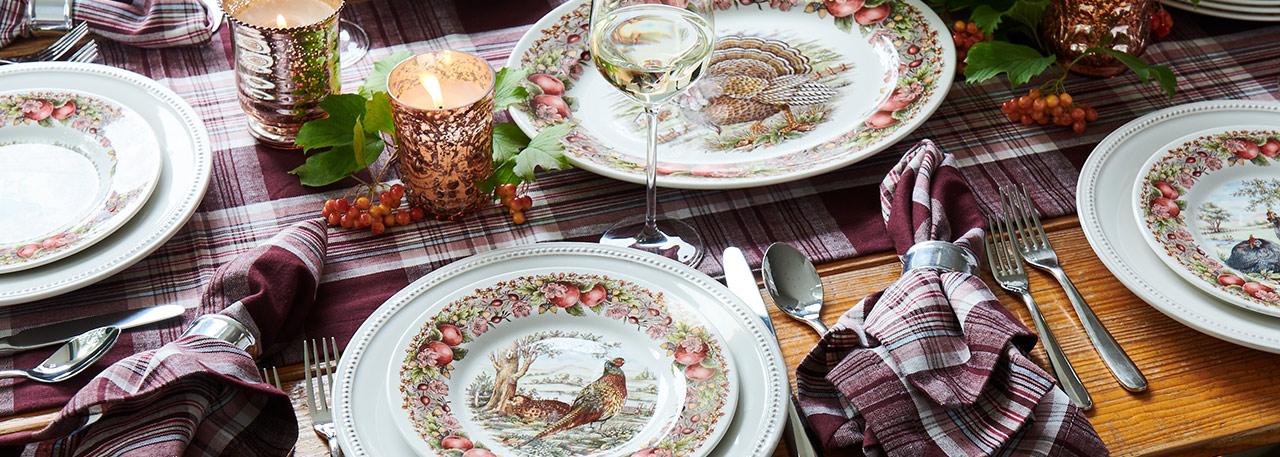 Harvest dinnerware and decor