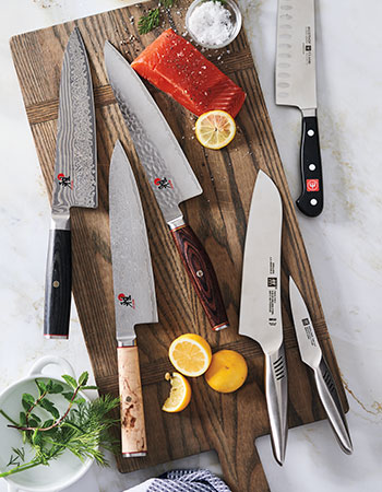Chef's knives on cutting board