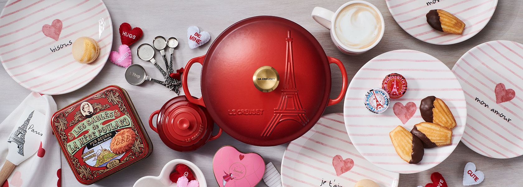 Red Le Creuset cast iron cookware
