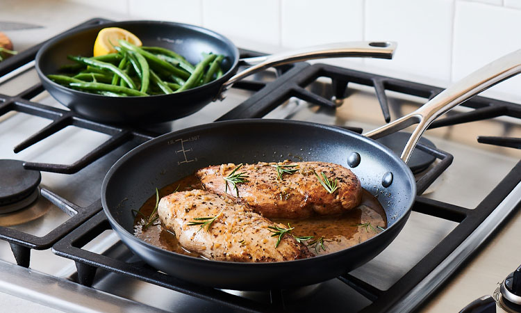 Sur La Table Classic Hard Anodized Nonstick skillet with chicken and green beans