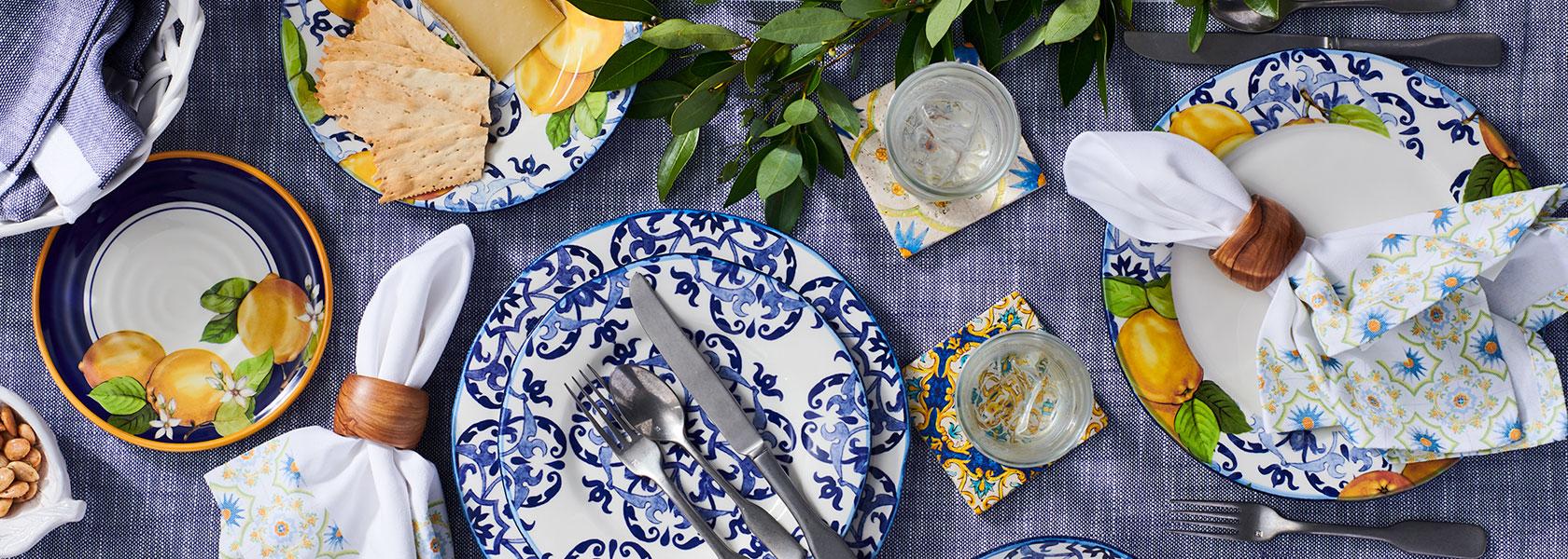 blue and white Limone dinnerware