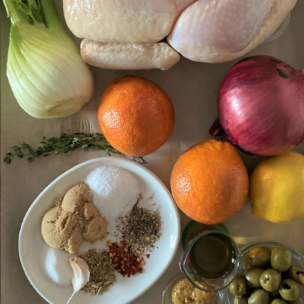 ingredients for Blood Orange Chicken with Whiskey and Green Olives