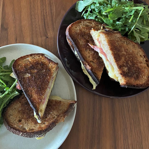 Apple and Cheddar Grilled Cheese with Truffle Salami